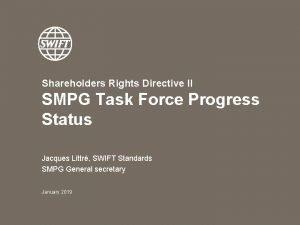 Shareholders Rights Directive II SMPG Task Force Progress