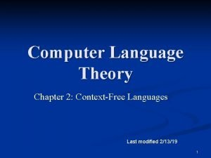 Computer Language Theory Chapter 2 ContextFree Languages Last