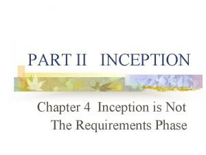 PART II INCEPTION Chapter 4 Inception is Not