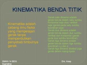 KINEMATIKA BENDA TITIK Kinematika adalah cabang ilmu fisika