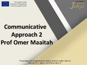 Communicative Approach 2 Prof Omer Maaitah Promoting youth