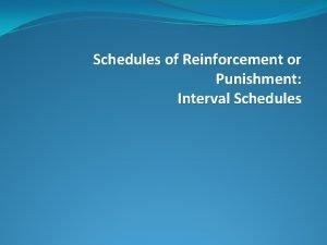 Schedules of Reinforcement or Punishment Interval Schedules Ratio