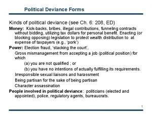 Political Deviance Forms Kinds of political deviance see
