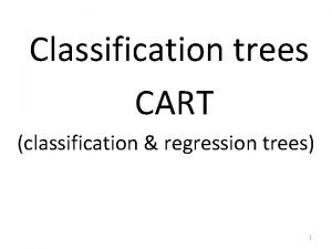 Classification trees CART classification regression trees 1 Tree