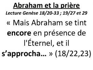 Abraham et la prire Lecture Gense 1820 33