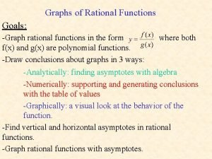 Graphs of Rational Functions Goals Graph rational functions