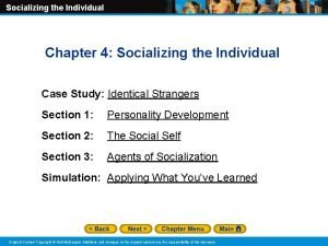 Socializing the Individual Chapter 4 Socializing the Individual