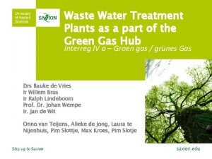 Waste Water Treatment Plants as a part of