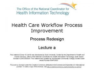 Health Care Workflow Process Improvement Process Redesign Lecture