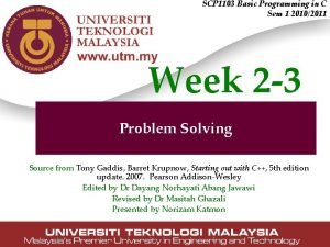 SCP 1103 Basic Programming in C Sem 1