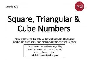 Grade FG Square Triangular Cube Numbers Recognise and