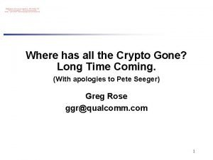 Where has all the Crypto Gone Long Time