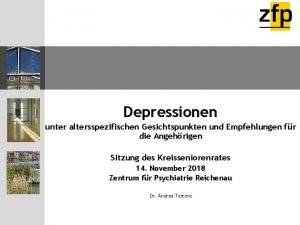 Depressionen unter altersspezifischen Gesichtspunkten und Empfehlungen fr die