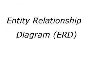 Entity Relationship Diagram ERD Entity Relationship Diagram ERD