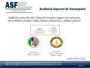 Auditora Especial de Desempeo Auditoras nms 65 y