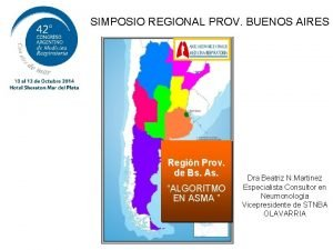 SIMPOSIO REGIONAL PROV BUENOS AIRES Regin Prov de