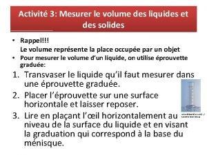Activit 3 Mesurer le volume des liquides et