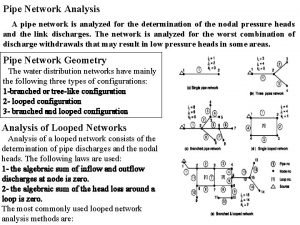 Pipe Network Analysis A pipe network is analyzed