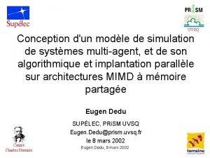 UVSQ Conception dun modle de simulation de systmes