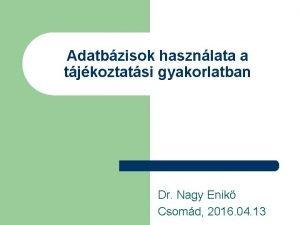 Adatbzisok hasznlata a tjkoztatsi gyakorlatban Dr Nagy Enik
