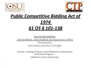 Public Competitive Bidding Act of 1974 61 OS