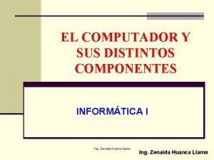 EL COMPUTADOR Y SUS DISTINTOS COMPONENTES INFORMTICA I