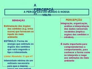 A PERCEPO DO MUNDO NOSSA O VOLTA SENSAO