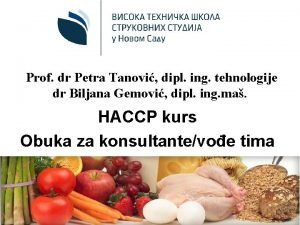 Prof dr Petra Tanovi dipl ing tehnologije dr