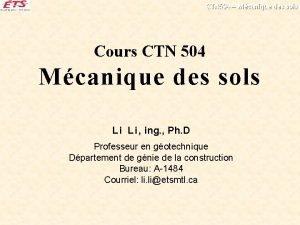 CTN 504 Mcanique des sols Cours CTN 504