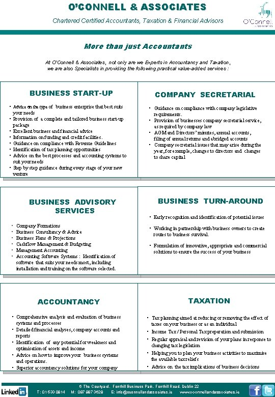OCONNELL ASSOCIATES Chartered Certified Accountants Taxation Financial Advisors