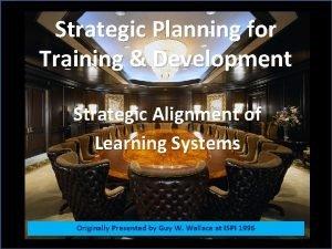 Strategic Planning for Training Development Strategic Alignment of