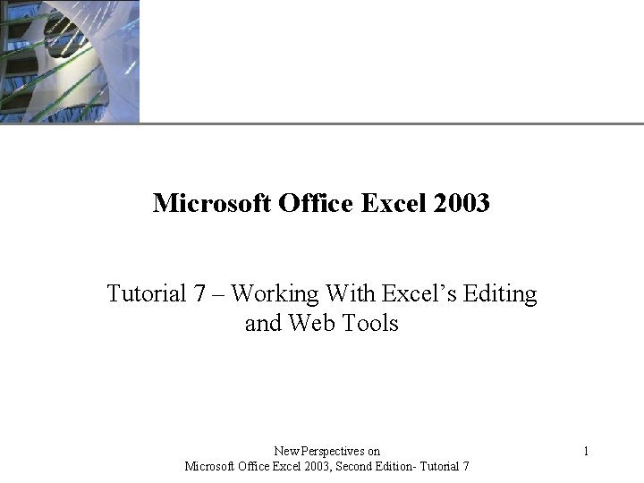 XP Microsoft Office Excel 2003 Tutorial 7 Working
