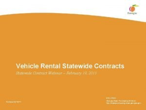 Vehicle Rental Statewide Contracts Statewide Contract Webinar February