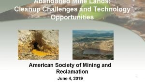 Abandoned Mine Lands Cleanup Challenges and Technology Opportunities