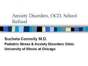 Anxiety Disorders OCD School Refusal Sucheta Connolly M
