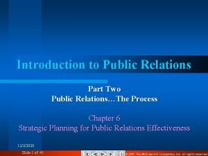 Introduction to Public Relations Part Two Public RelationsThe