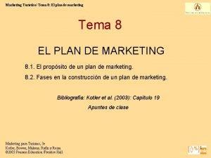 Marketing Turstico Tema 8 El plan de marketing