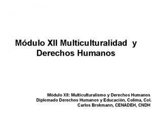Mdulo XII Multiculturalidad y Derechos Humanos Mdulo XII