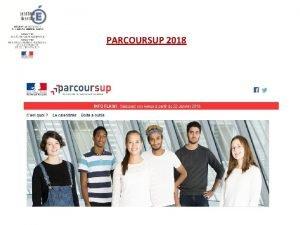 PARCOURSUP 2018 Les tapes de PARCOURSUP 2018 1