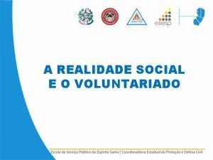 A REALIDADE SOCIAL E O VOLUNTARIADO A REALIDADE