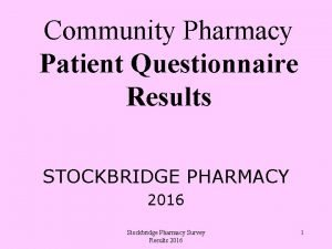 Community Pharmacy Patient Questionnaire Results STOCKBRIDGE PHARMACY 2016