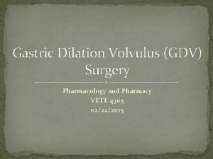 Gastric Dilation Volvulus GDV Surgery Pharmacology and Pharmacy