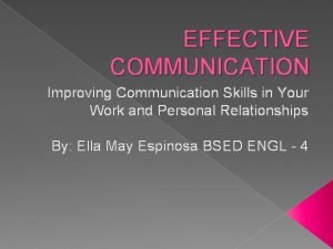 EFFECTIVE COMMUNICATION Improving Communication Skills in Your Work