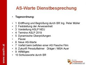 ASWarte Dienstbesprechung www ooelfv at Tagesordnung 1 2