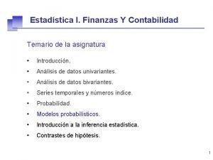 Estadstica I Finanzas Y Contabilidad Temario de la
