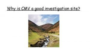 Why is CMV a good investigation site Why