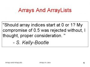 Arrays And Array Lists Should array indices start