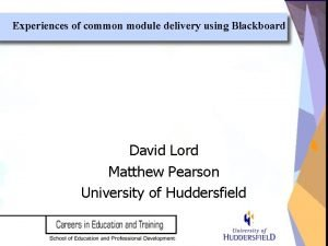 Experiences of common module delivery using Blackboard David