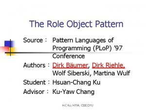 The Role Object Pattern Source Pattern Languages of