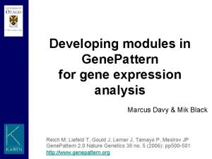 Developing modules in Gene Pattern for gene expression